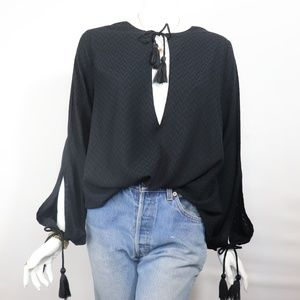 Long Sleeve Blouse with Tassels